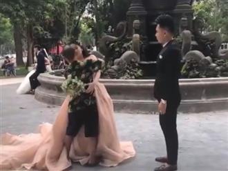 Hướng dẫn chú rể tạo dáng không được, thợ chụp ảnh ở Hà Nội bực bội hôn luôn cô dâu