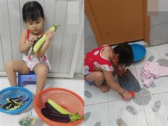 Mẹ bị bệnh, bé gái 5 tuổi cáng đáng hết việc nhà khiến mọi người xúc động xen lẫn xót xa