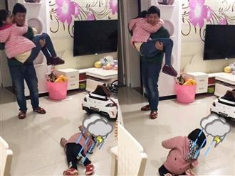 Thấy bố mẹ 'tình bể bình', bé gái ngã xuống đất suy sụp khiến ai nấy phải phá lên cười
