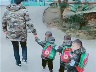 Đưa 3 con trai sinh ba đi học, ông bố khóc ròng vì bị hết đứa này đến đứa kia cho 'ăn hành'