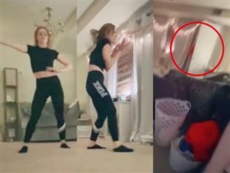 Đang quay clip nhún nhảy, cô gái thót tim khi phát hiện bóng dáng lấp ló ngoài ban công và khoảnh khắc tiếp theo khiến MXH rùng mình