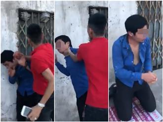 Bị đánh ghen giữa đường vì rủ vợ người khác đi nhà nghỉ, nam thanh niên quỳ gối xin lỗi