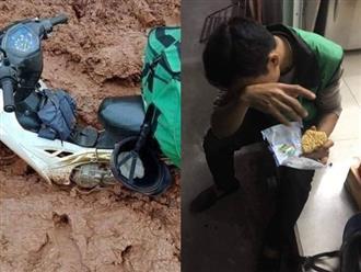Thanh niên giao hàng ăn vội mì tôm sống, nhìn chiếc xe ngập ngụa bùn đất càng thêm xót xa