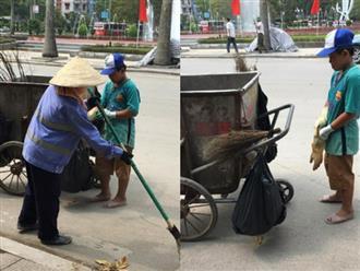 Được nghỉ lễ, bé trai ra đường quét rác giúp mẹ khiến nhiều người xúc động