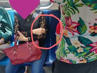 Người phụ nữ cầm tăm nhọn chĩa về bé trai để ngăn bé dựa vào mình trên xe buýt gây bão mạng