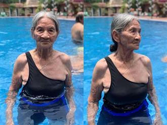 Cụ bà gần 90 tuổi mặc đồ tắm, thần thái đỉnh cao bên hồ bơi khiến dân mạng trầm trồ