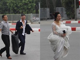 Cấm đường bảo vệ Hội nghị Mỹ - Triều, xe rước dâu chôn chân ngoài đại lộ, cô dâu chú rể xách váy chạy bộ