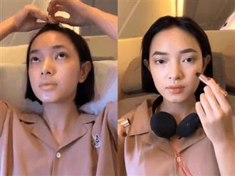 Tưởng cầu kỳ thế nào, thì ra cách makeup trên máy bay của Châu Bùi rất đơn giản