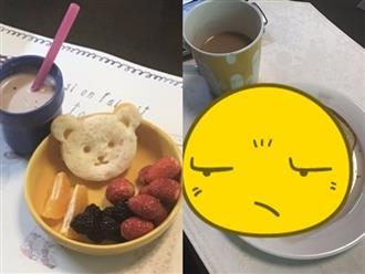 Nhìn bữa sáng mẹ bưng ra, bé gái òa lên vui sướng, còn ông bố thì chán chẳng buồn nói khiến dân tình cười xỉu