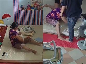 Thấy con bị đánh, bố lao tới đạp vào đầu bà giúp việc gây tranh cãi