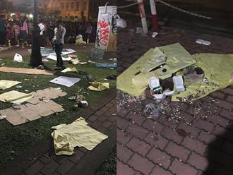 Hậu bắn pháo hoa, người dân 'phủi tay' đi về, để lại phố đi bộ Nguyễn Huệ ngập ngụa rác