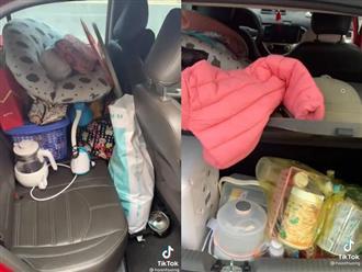 """""""Tá hỏa"""" bên trong chiếc xe về quê ăn Tết của một gia đình có con nhỏ, đồ đạc chất thành núi mà ai nhìn cũng thấy vừa lo vừa ngán"""