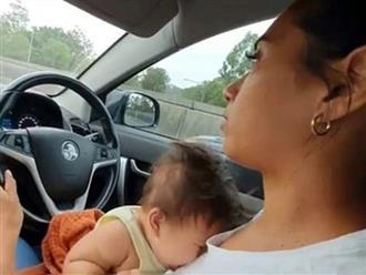 Mẹ trẻ vừa lái xe vừa cho con bú: Dân mạng bình luận trái chiều