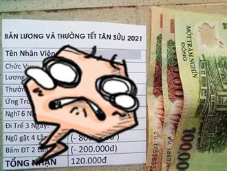 """Xôn xao bảng lương thưởng Tết 6 triệu bỗng chốc """"co lại"""" chỉ còn... 120 nghìn đồng!?"""