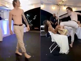 Chú rể bất ngờ vung chân đá thẳng vào mặt cô dâu khiến nhiều quan khách há hốc mồm