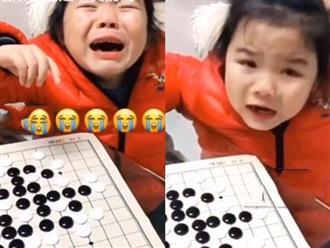 Hai bố con đang chơi cờ đột nhiên mẹ nghe con gái vừa khóc vừa kêu cứu, biết nguyên do cô không khỏi phì cười