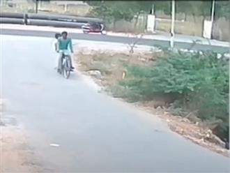 Hai thanh niên đang đèo nhau trên chiếc xe đạp bỗng 'bỏ của chạy lấy người' vì phát hiện vật thể lạ cản đường
