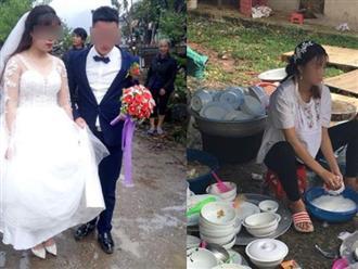 Lỡ mang bầu trước cưới, cô dâu bức xúc khi mẹ chồng yêu cầu không được cùng chú rể bước vào cổng rạp, tự mình ngồi rửa hết 40 mâm cỗ