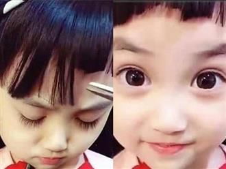 """Mẹ cắt tóc con """"nham nhở"""", khi bé mở mắt ra, dân mạng vỡ oà: Xinh đẹp bất chấp!"""