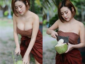 'Mỹ nữ chặt dừa' mặc áo trễ nải khoe trọn vòng 1 căng tròn quyến rũ hết phần thiên hạ