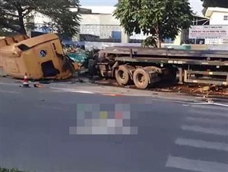 Xe container đang chạy bỗng 'đứt lìa đầu' đổ rạp xuống đường vào nửa đêm khiến ai cũng giật mình