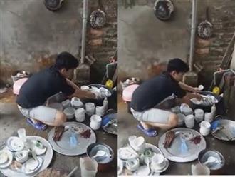 Clip chàng trai ngồi rửa đống chén bát khi lần đầu ra mắt nhà vợ gây sốt mạng xã hội