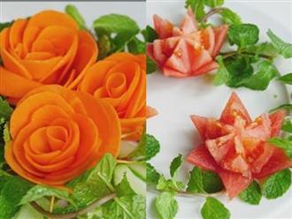 Nàng dâu chinh phục mẹ chồng với cách tỉa bông hoa từ cà rốt, cà chua đẹp mê hồn