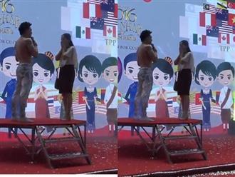 Quốc Cơ quỳ gối cầu hôn vợ ngay trên sân khấu