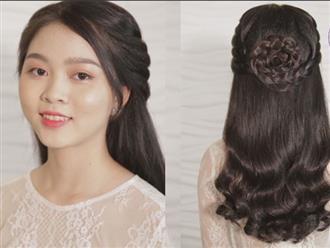 Học cách tết tóc hình hoa hồng dễ thương cho cô nàng dịu dàng nữ tính