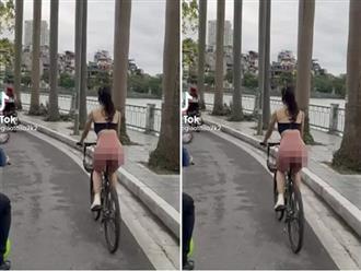 Mỹ nữ gymer diện quần bó ôm trọn từng milimet vòng 3 đạp xe lượn quanh Hồ Tây khiến người đi đường 'xịt máu mũi'