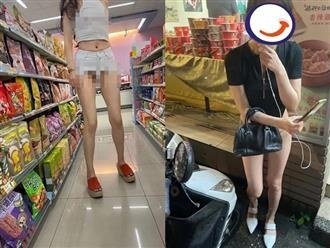 Phái đẹp 'bỏ quên' nội y đi siêu thị, lồ lộ vùng nhạy cảm khiến nhiều người qua lại 'nổ mắt'