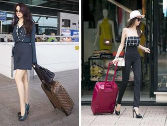 """Nhìn lại mới thấy style sân bay của sao Việt khi xưa thật """"mắc mệt"""": Người tương hẳn váy dạ hội, người leo guốc 20cm"""