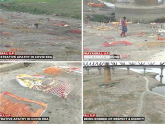 Rùng mình: 'Mộ tập thể' chôn hàng nghìn xác chết Covid-19 ven sông Hằng lộ thiên sau mưa lớn, mùi tử thi ở khắp nơi