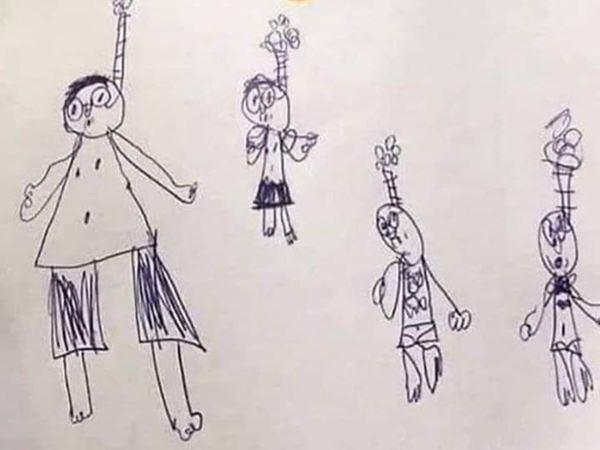 """Cậu bé vẽ tranh cả gia đình trong tư thế treo cổ nhưng khi biết lý do thật phía sau, ai cũng phải cười """"haha"""""""