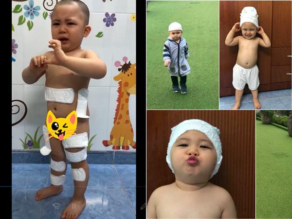 Cười chảy nước mắt với bé trai 2 tuổi lấy băng vệ sinh dán khắp người vì nghĩ đó là... băng dán vết thương