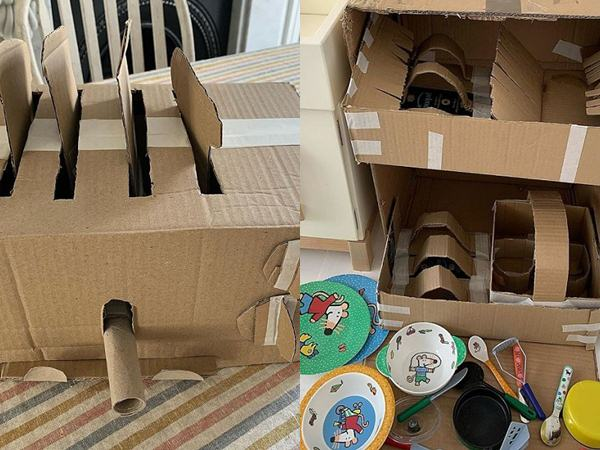 Mẹ trẻ dùng bìa làm đồ chơi để dạy con kĩ năng sống