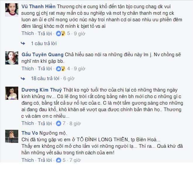 Người hâm mộ để lại bình luận trên trang fanpage của Thủy Tiên.