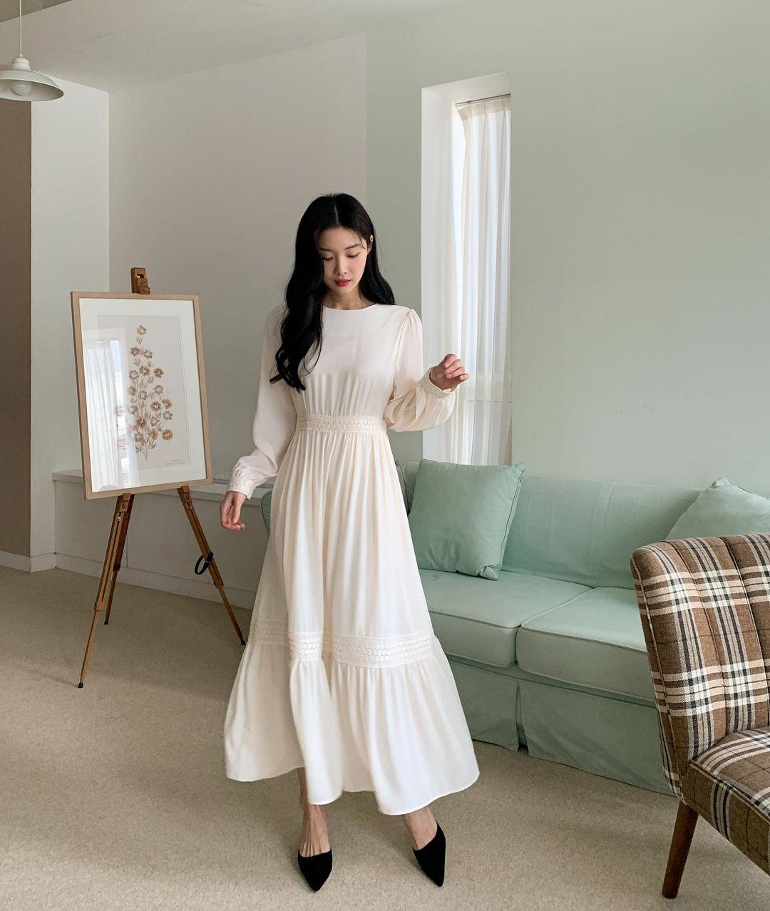 Hè đến là gái Hàn lại diện đủ kiểu váy trắng siêu trẻ xinh và tinh tế, xem mà muốn sắm cả 'lố' về nhà - Ảnh 3