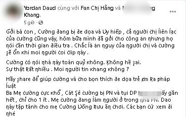 'Cậu IT' Nhâm Hoàng Khang kêu cứu vì bị 'đe dọa và hăm giết' sau khi tung bằng chứng Hồ Văn Cường sống trong 'động quỷ' - Ảnh 1
