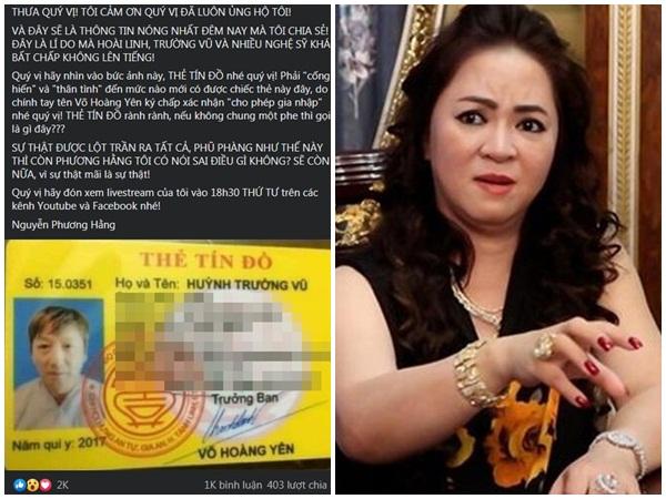 Bà Phương Hằng hé lộ tình tiết NÓNG, nghi vấn ca sĩ hải ngoại Trường Vũ nắm trong tay 'chiếc thẻ quyền lực'