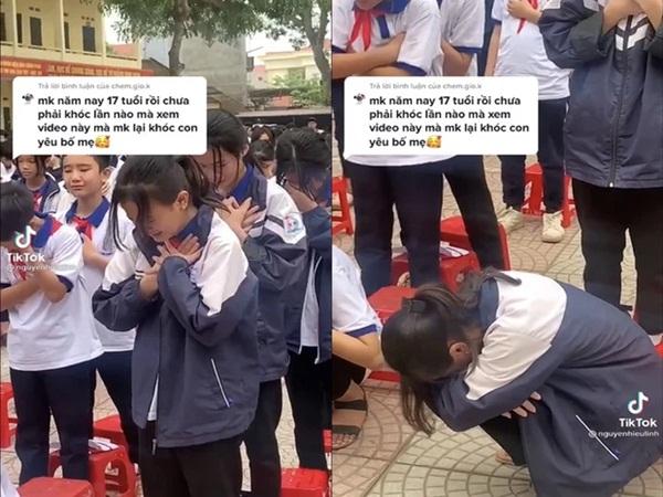 Xôn xao hình ảnh hơn 1.000 học sinh khóc nức nở, thậm chí ngồi sụp xuống sân trường