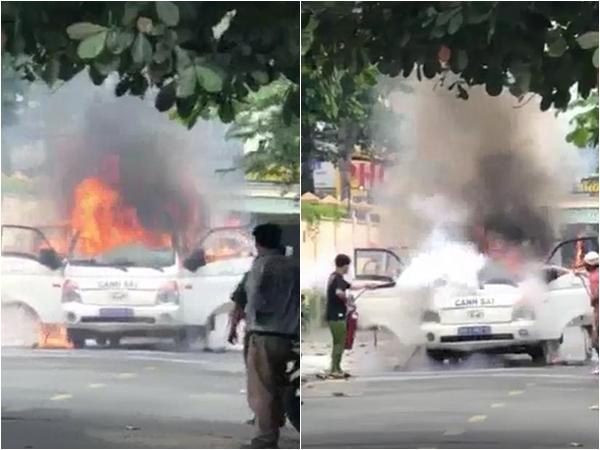 TP.HCM: Xe chở phạm nhân bất ngờ bốc cháy khi đang chạy trên đường