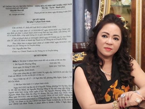 Bà Nguyễn Phương Hằng bị xử phạt vì phát ngôn sai sự thật