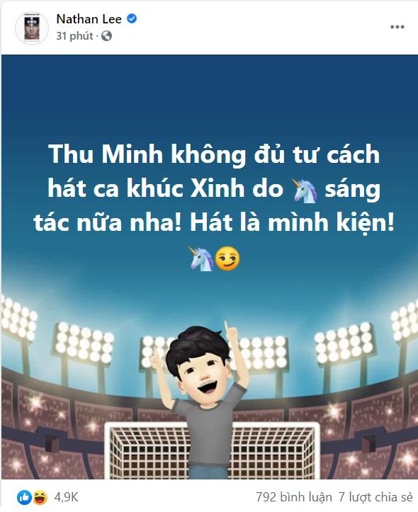 Nathan Lee tuyên bố sốc, nói Thu Minh 'không đủ tư cách hát ca khúc Xinh do mình sáng tác nữa' - Ảnh 1