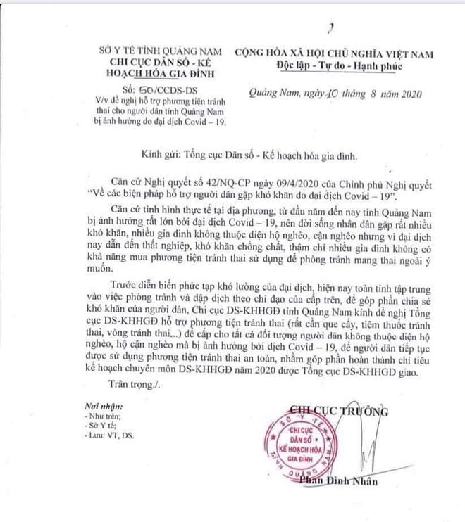 Quảng Nam xin hỗ trợ phương tiện tránh thai cho người dân bị ảnh hưởng bởi Covid-19 - Ảnh 1