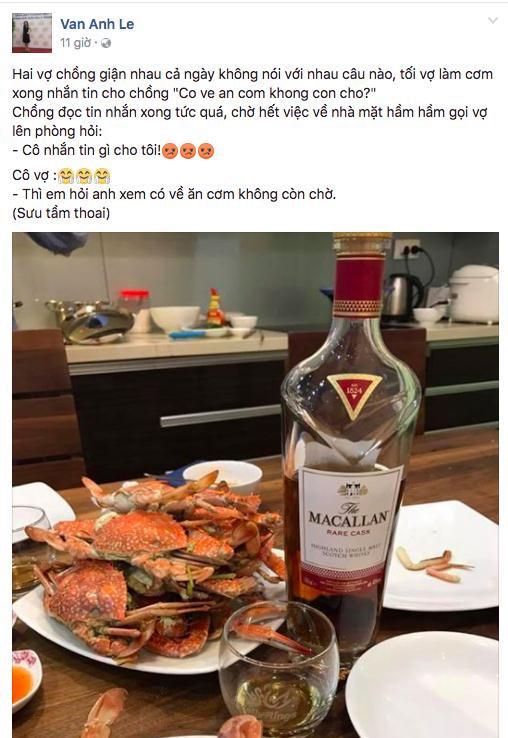Vợ đại gia kim cương đăng status tình cảm kèm hình ảnh minh hoạ về bữa tiệc rượu gia đình khiến nhiều người cho rằng cô và chồng đã tái hợp