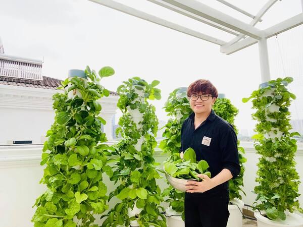 Học MC Đại Nghĩa cách trồng rau sân thượng: Chỉ tốn 'một trăm mấy chục nghìn' là rau đã tươi tốt um tùm, ăn hoài không hết