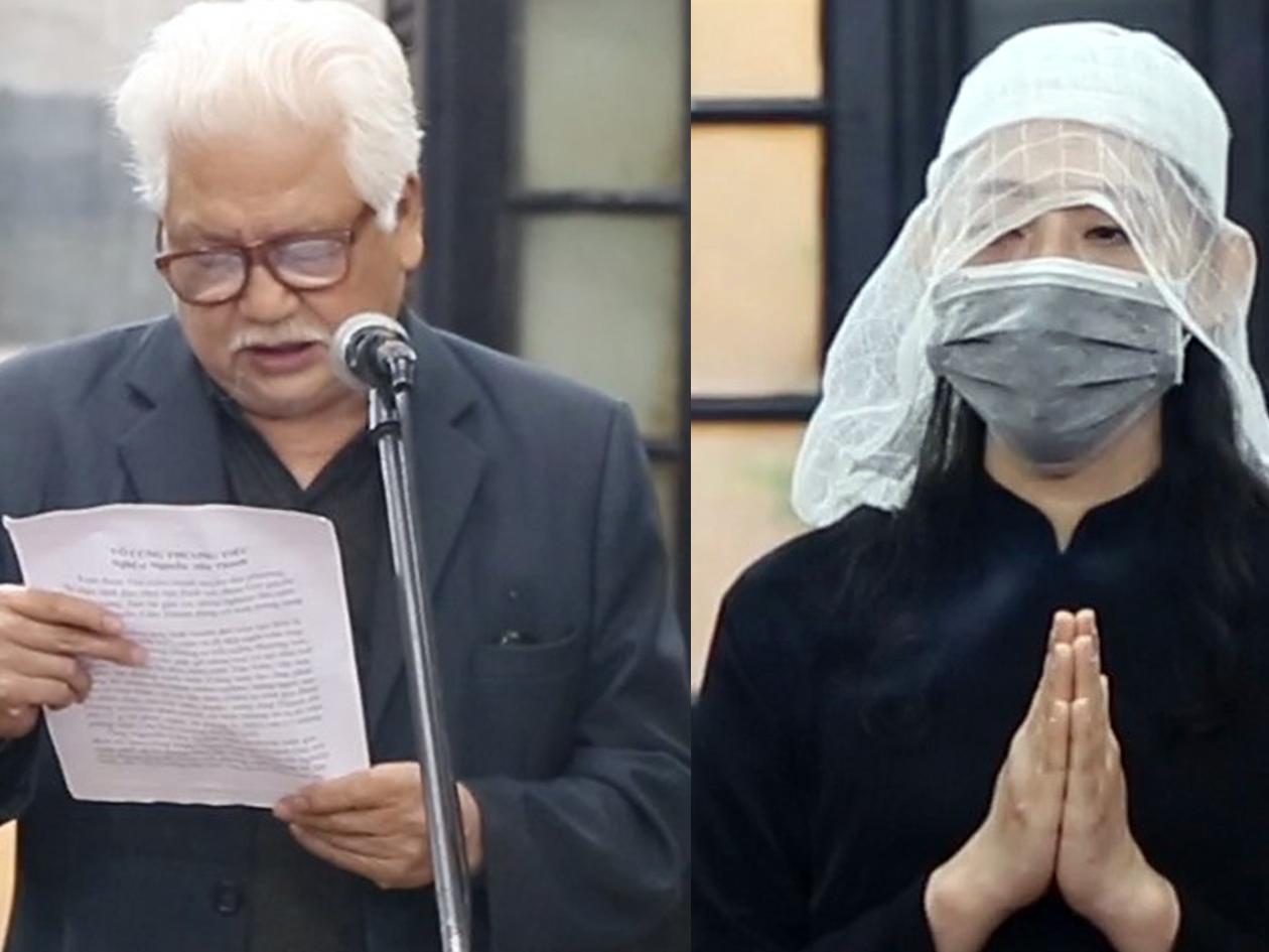 Tang lễ nghệ sĩ Văn Thành: Con trai đầu không thể đến tiễn cha, vợ con cố nghệ sĩ cúi cảm tạ khách viếng