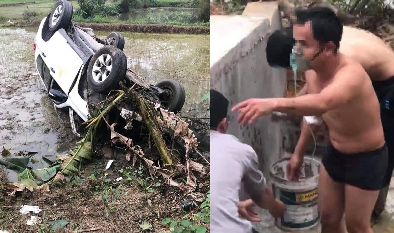 Xe cấp cứu lật ngửa dưới ruộng, bệnh nhân đeo bình oxy đi gột bùn